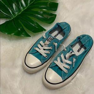 Converse turquoise slip on chucks size 6